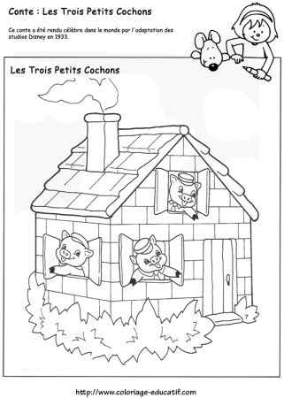 Coloriage contes - Dessin des 3 petit cochon ...