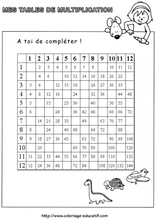 exercice table multiplication 3 4 5 table de