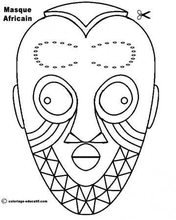 Dessin africain - Coloriage masque ...