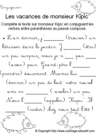 Coloriage Educatif Conjugaison Les Vacances De Monsieur Kipic
