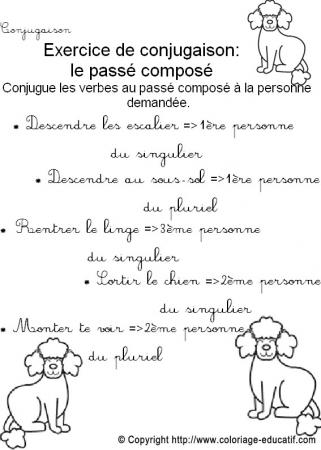 Coloriage Educatif Conjugaison Exercice De Conjugaison Le Passe