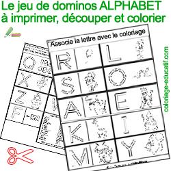 Pin alphabet pour imprimer le coloriage lettres de l - Coloriage domino ...